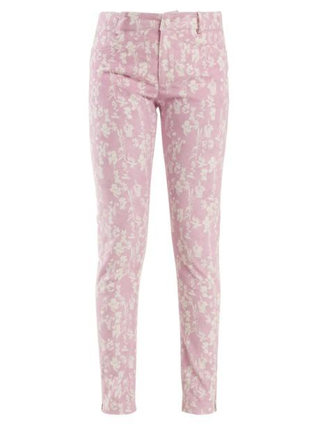 floral print light pink light pink pants