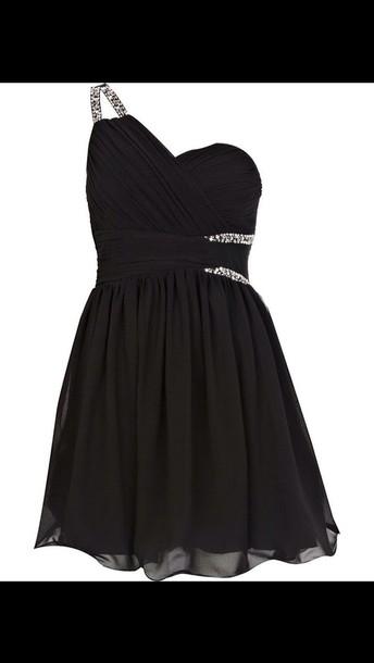 dress black dress crystal one shoulder cute dress