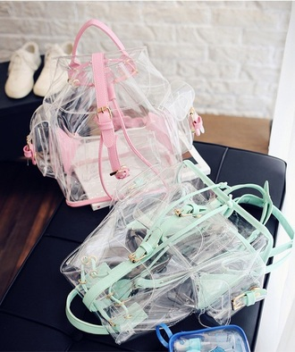 bag girly clear backpack pink teal