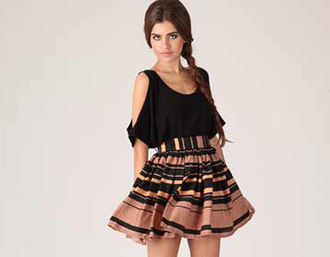 skirt striped skirt nude black skirt skater skirt