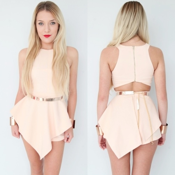 Peach High Neck Cut Out Back Peplum Jumpsuit Playsuit 6 8 10 12 | eBay