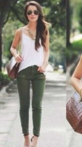 jeans khaki khaki pants pants green jeans cargo pants zip dark green skinny skinny jeans