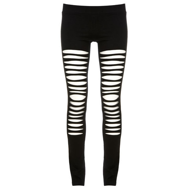 Maurie & Eve Black Ripped See Through Swing Leggings