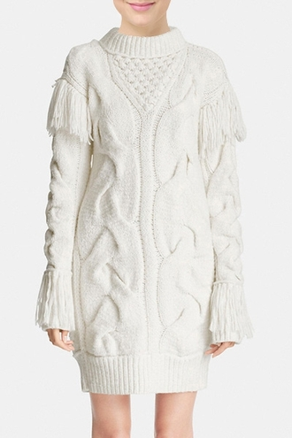dress white fringes fall outfits winter outfits sweater oversized sweater long sleeves cozy knitwear