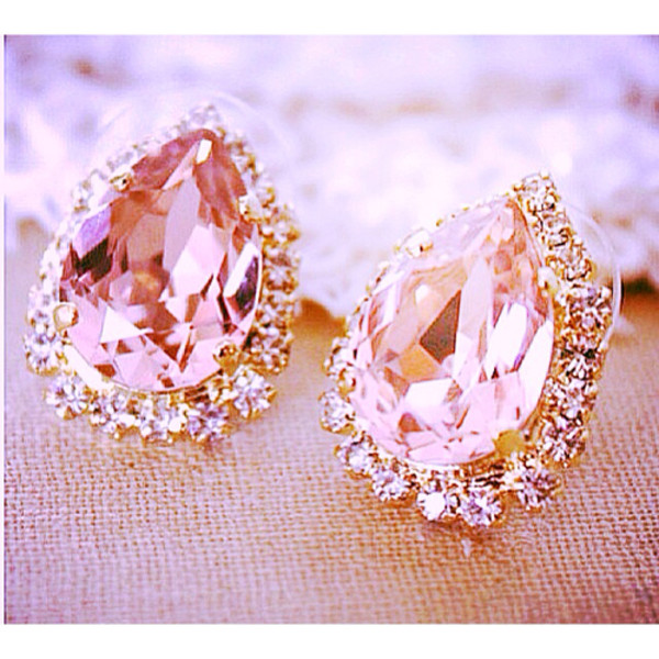 jewels earrings pink gold