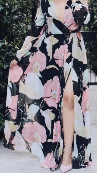 dress floral dress floral slit dress slit dress maxi dress summer girly floral shoes