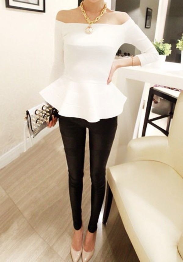 shirt white peplum top