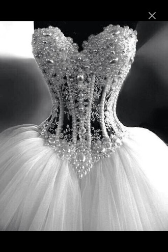 dress wedding dress pearl rhinestones diamonds corset dress white dress prom dress curvy fancy fashion queen wedding clothes lace dress lace