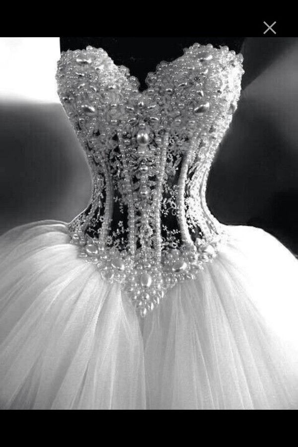 Dress wedding dress pearl rhinestones diamonds corset for Wedding dresses with pearls and diamonds