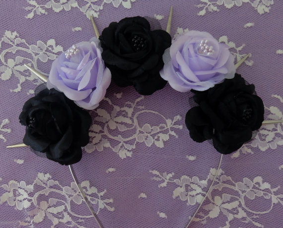 Maleficent Flower crown Black and purple fabric door Voxpopuli77