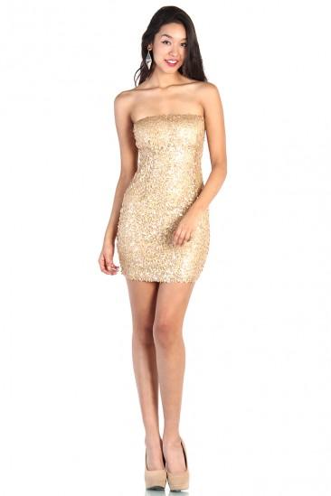 OMG Strapless Gold Sequin Dress
