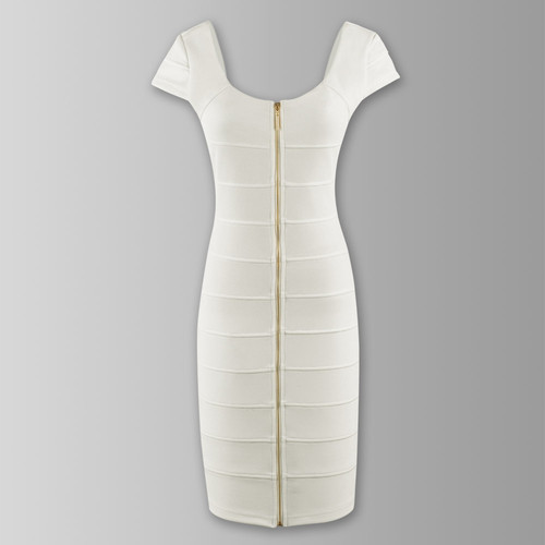 Women's White Zips Slim Ladies Cap Sleeve Stretch Cocktail Party Dresses 8-14 | Amazing Shoes UK