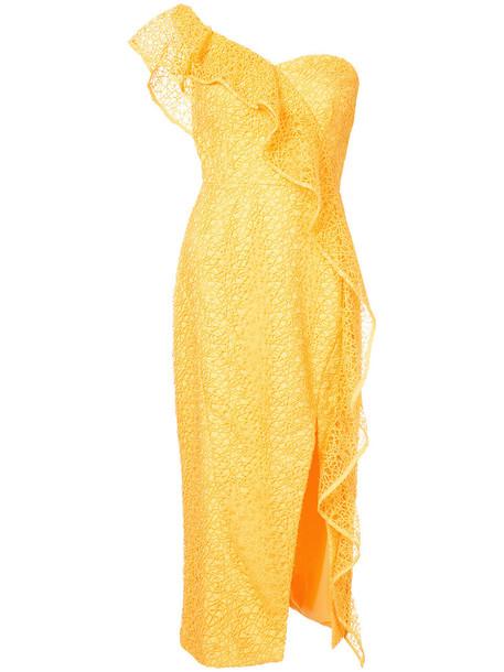 Rebecca Vallance dress midi dress women midi yellow orange