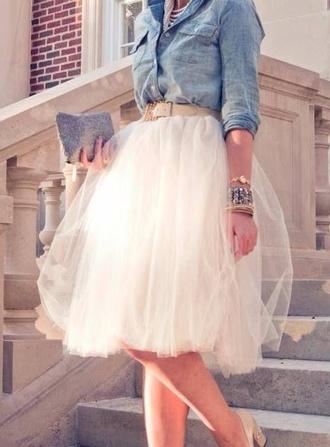 skirt midi tulle skirt knee-length carrie-style