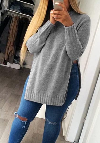 Grey Side Slit Tunic Sweater