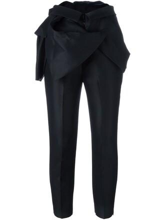 ruffle women black silk wool pants