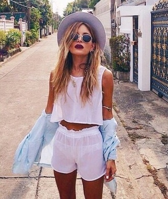 tank top white top coachella shorts jacket sunglasses