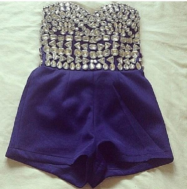 dress romper jumpsuit bustier jewels navy
