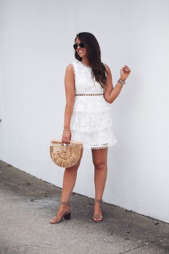 fashionably kay blogger dress shoes bag jewels sandals cult gaia bag white dress summer outfits