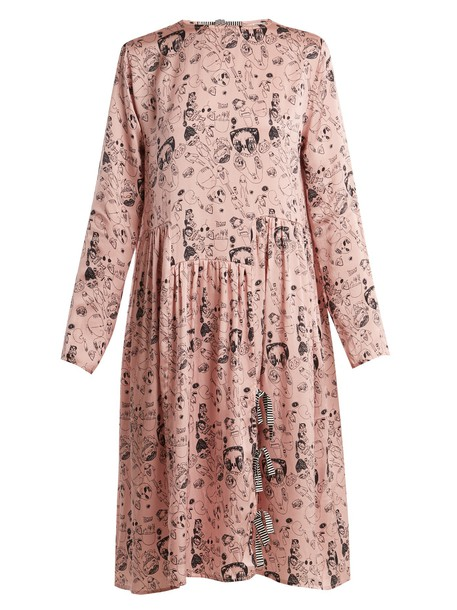 Shrimps dress silk dress print silk pink