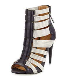 Deon colorblock leather caged bootie, black/white