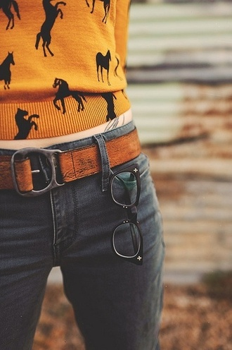 sweater mustard horse leather belt fall outfits belt pants brown belt leather country glasses jeans shirt girly cute outfit long sleeves aliexpress clothes horse light blue lightweight lightweight sweater mustard sweater yellow sweater black horses yellow