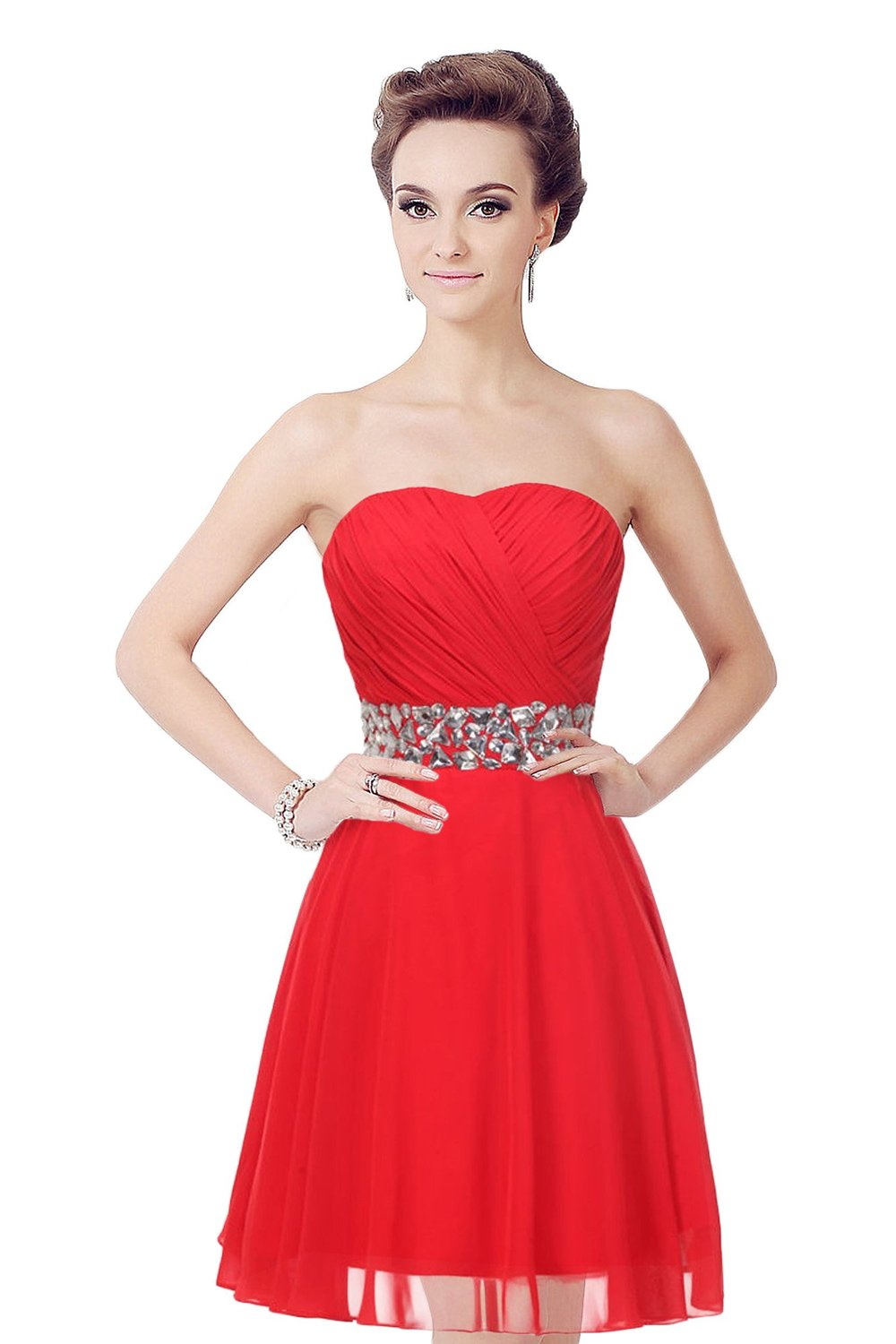 80248ff12371 Medon's Strapless Ruched Bodice Short Chiffon Lace-up Bridesmaid Dress at Amazon  Women's Clothing store: