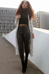 from hats to heels,blogger,top,knitted cardigan,leather pants,cardigan,pants,shoes,bag