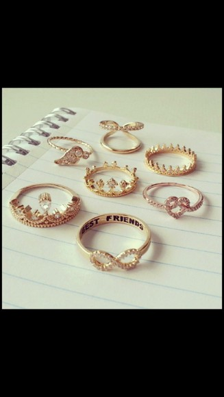 jewels gold double ring double rings gold rings gorgeous infinity ring heart ring crown ring cute gold jewelry vintage