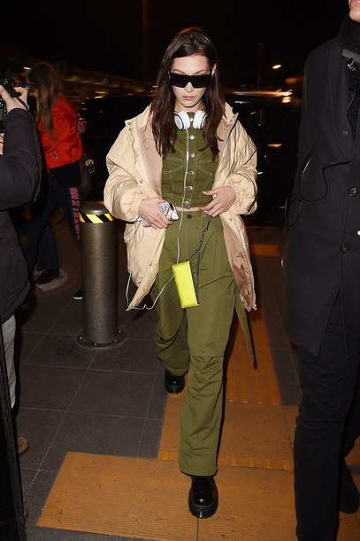 top pants jacket bella hadid model off-duty paris fashion week 2018 streetstyle khaki khaki pants vest