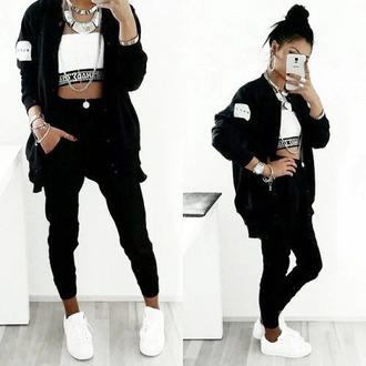 jacket style fashion beautiful black white necklace shirt jeans pants