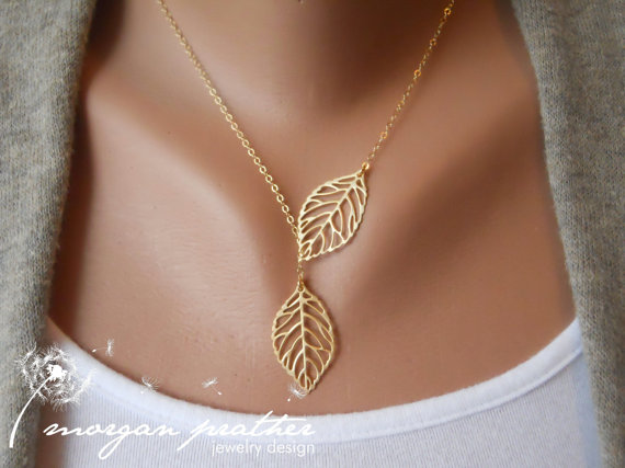 Leaf Lariat in Gold  gold dainty leaf by thelovelyraindrop on Etsy