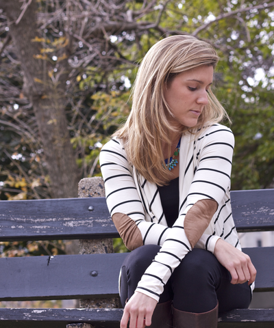 White striped elbow patch cardigan