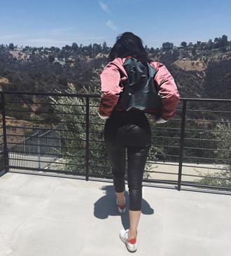 jacket pants sneakers kylie jenner instagram bomber jacket kardashians
