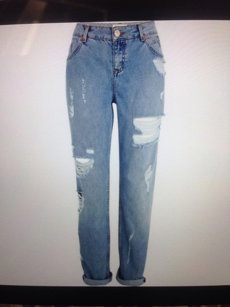 jeans light washed ripped cassie boyfriend jeans