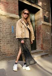 shoes,sneakers,skirt,top,jacket,sunglasses,white sneakers,socks,brown jacket