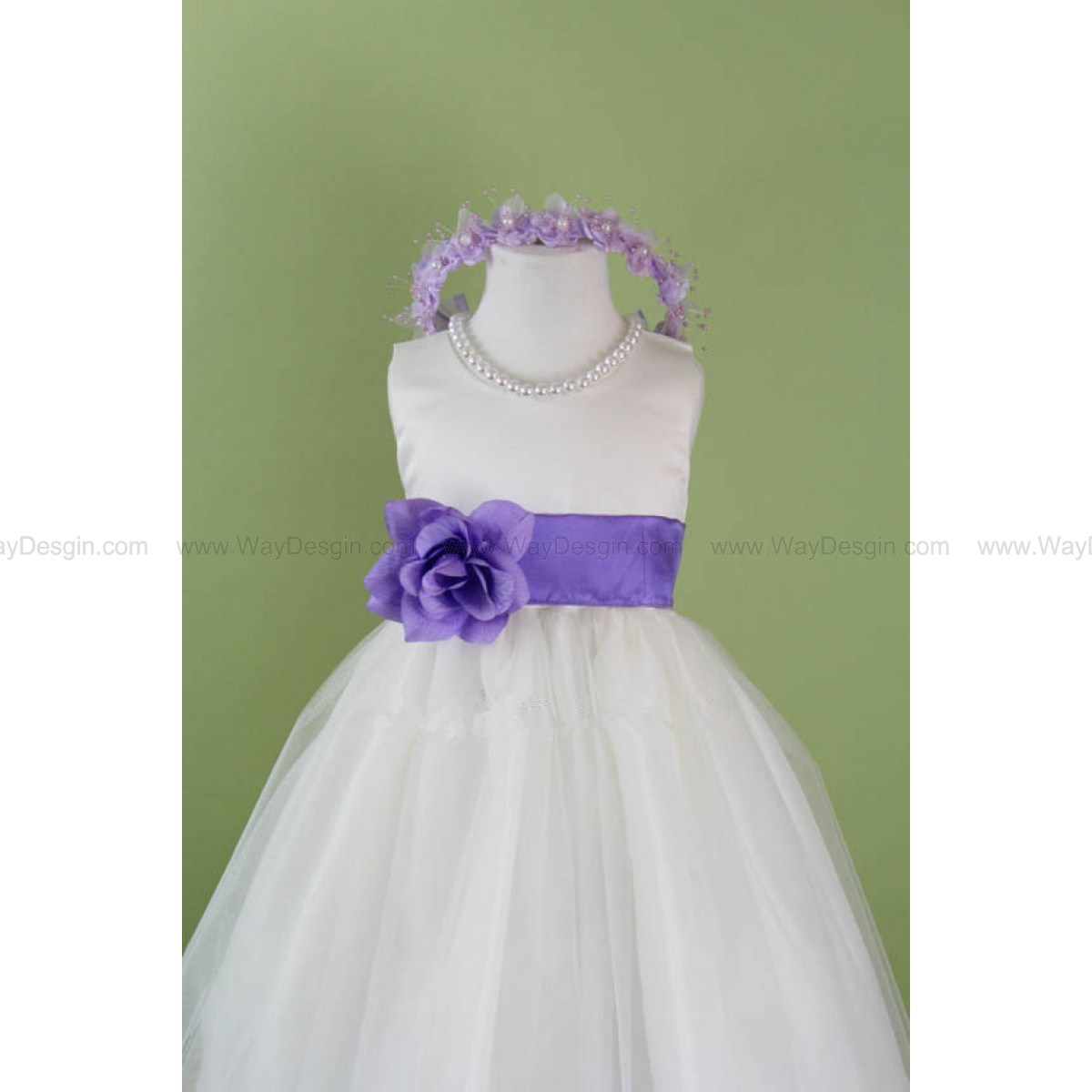 Flower Girl Dress - WHITE Tulle Dress with LILAC Sash - Communion, Easter, Junior Bridesmaid, Wedding - From Baby to Teen