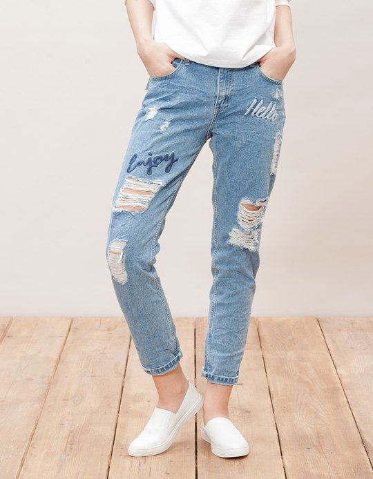 Slim fit boyfriends with embroidery detail - JEANS - WOMAN ...