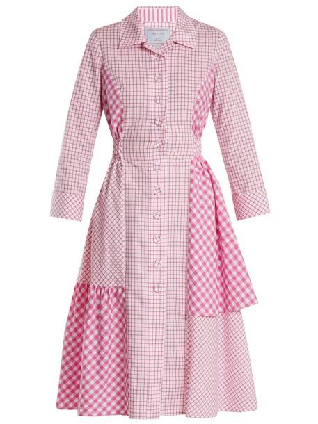 DOVIMA PARIS shirtdress cotton white pink dress