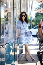 hallie daily,blogger,dress,blue dress,retro,polka dots,bag,sunglasses,jewels,shoes