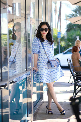 hallie daily blogger dress blue dress retro polka dots