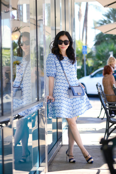 hallie daily blogger dress blue dress retro polka dots bag sunglasses jewels shoes