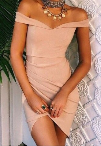 dress nude pink homecoming bodycon off the shoulder dress