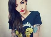t-shirt,metallica,band t-shirt,metal,shirt,lipstick,nose ring,tattoo,top,band merch