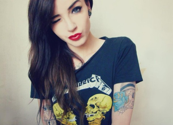 t-shirt metallica band t-shirt metal shirt lipstick nose ring tattoo top metallica band merch