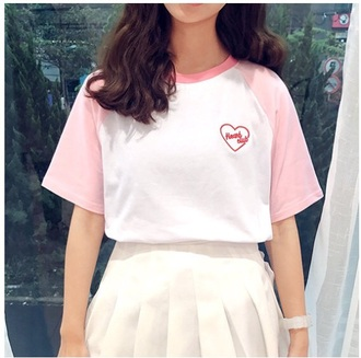 blouse girly tumblr pink white heart heart club t-shirt