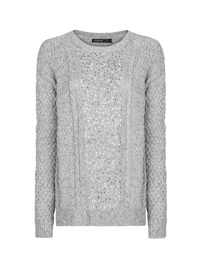 MANGO - CLOTHING - SEQUINED CABLE-KNIT SWEATER