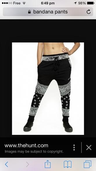 pants black white dance bandana women bandana print joggers