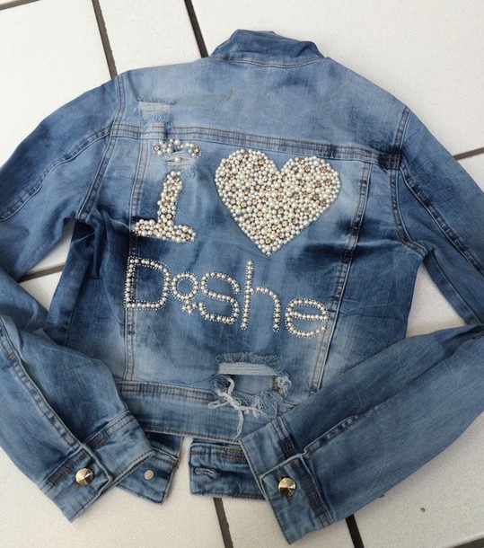 jacket jeans jacket with whith pearls