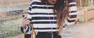 sweater cute white stripes striped shirt striped sweater blue blue and white striped blue stripes white stripes. blouse